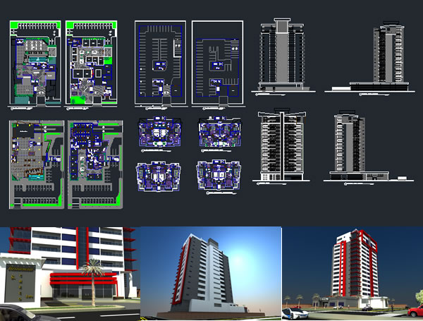 Mixed use building dwg autocad projects projects dwg for Apartment plans dwg format